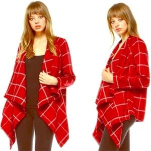 Jackets & Blazers - Red Plaid Draped Open Front Jacket
